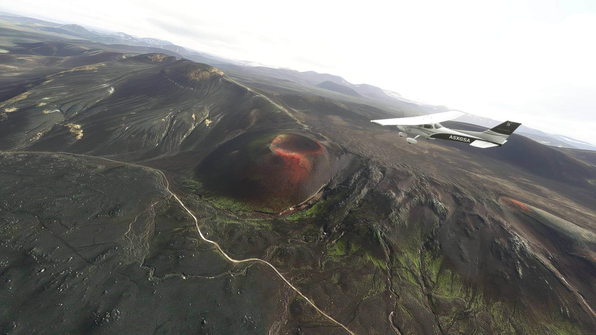 Plane flying over Iceland